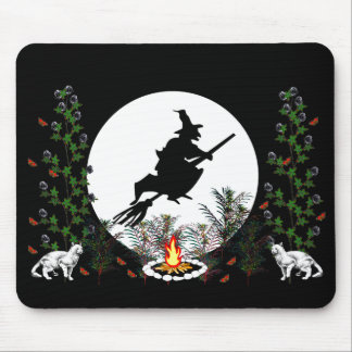 Witch and Cats Mouse Pad