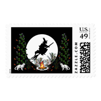 Witch and Cats Stamp