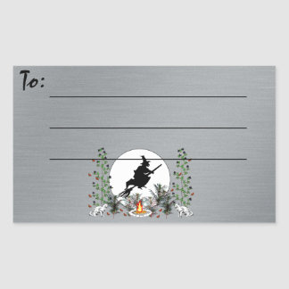 Witch and Cats Rectangular Sticker