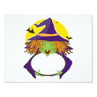 Witch and Cauldron 4.25x5.5 Paper Invitation Card