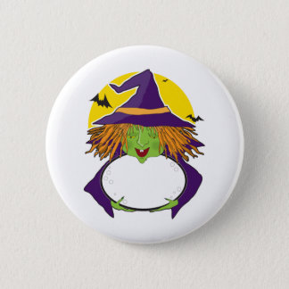 Witch and Cauldron Button