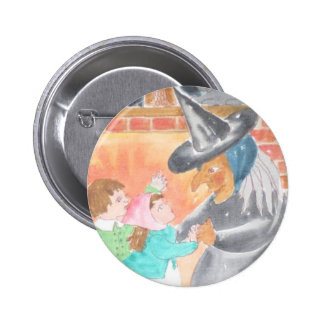 Witch and Children Halloween Button