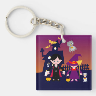 Witch and Dracula on Halloween Acrylic Keychains