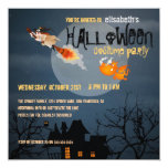 "Witch and Dragon Halloween Party Invitation 5.25"" Square Invitation Card"
