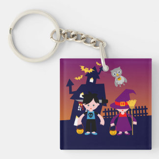 Witch and freak boy on Halloween Square Acrylic Key Chain