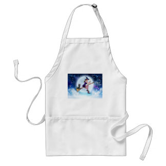Witch and Full Moon Halloween Scene Adult Apron