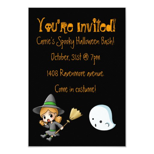 Witch and Ghost Halloween Party Invitation