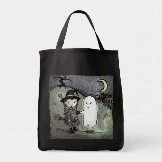 Witch and Ghost in Love Grocery Tote Bag