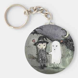 Witch and Ghost in Love Keychains