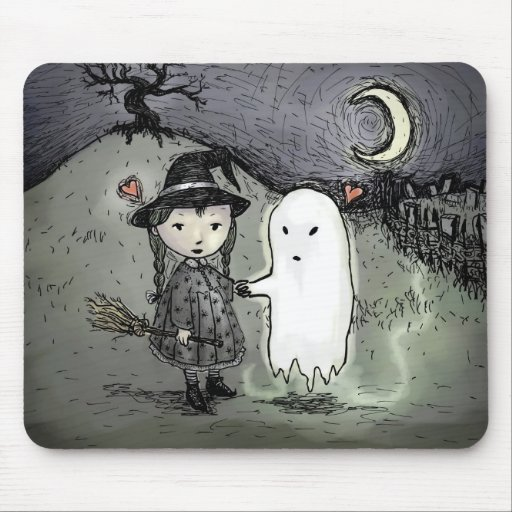 Witch and Ghost in Love Mouse Pad