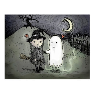 Witch and Ghost in Love Post Cards