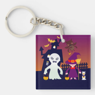 Witch and Ghost on Halloween Keychain