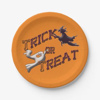 Witch and Ghost Trick or Treat Halloween Plates 7 Inch Paper Plate