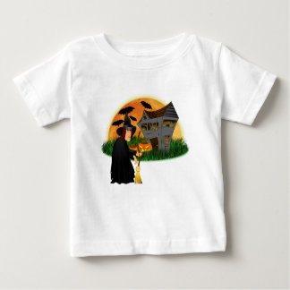 Witch and Haunted House Halloween baby t-shirt