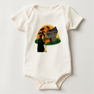 Witch and Haunted House Halloween Onsie Baby Bodysuit