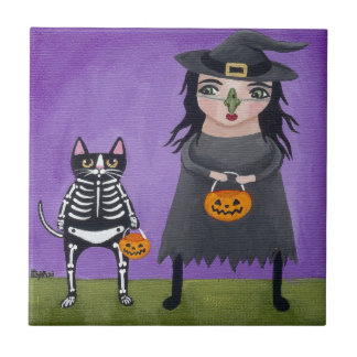 Witch and Her Cat Small Square Tile