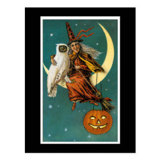 Witch and Her Owl Postcard