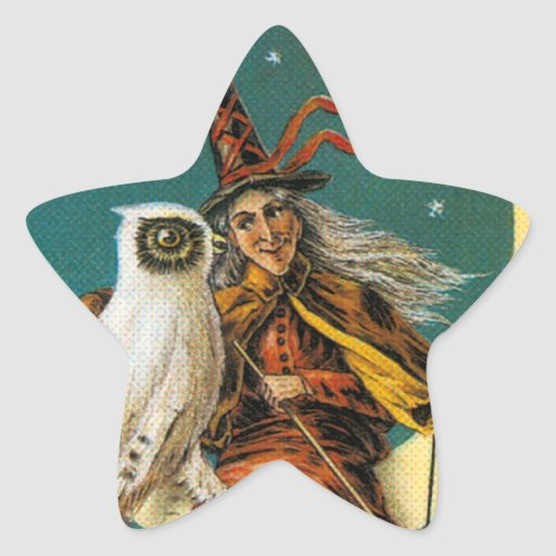 Witch and Her Owl Star Sticker