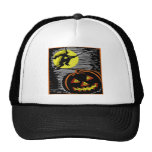 Witch and Jack o lantern Trucker Hat