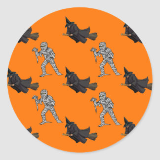 Witch and Mummy Pattern Classic Round Sticker
