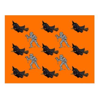Witch and Mummy Pattern Halloween Postcard