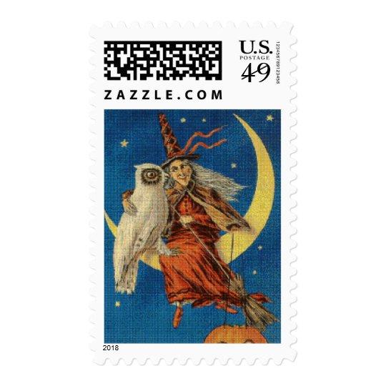 Witch and Owl Cross Stitch Postage Stamp