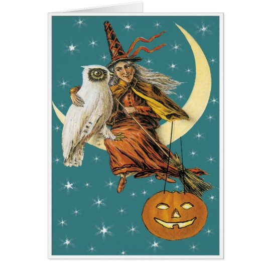 Witch And Owl On The Moon Vintage Card