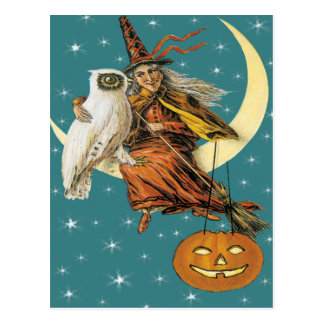 Witch And Owl On The Moon Vintage Postcard