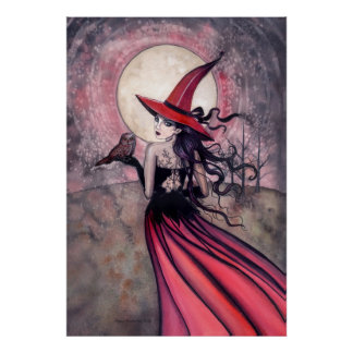 Witch and Owl Poster Print