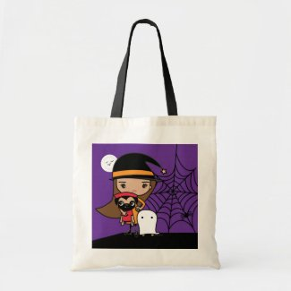 Witch and Pug Halloween Candy Bag