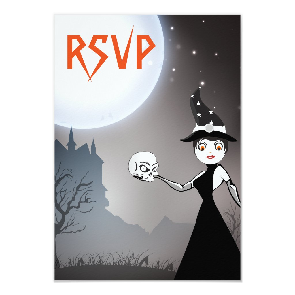 Witch and Skull Couple Wedding RSVP Cards