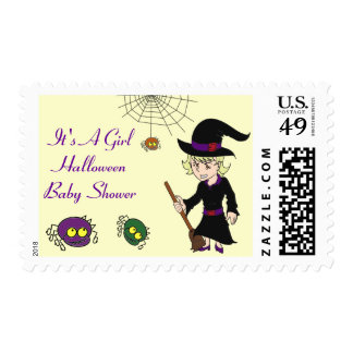 Witch and Spider Baby Shower Postal Stamps