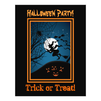 Witch And Spider On Web Halloween Custom Flyers
