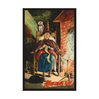 Witch at Fireplace Canvas Print