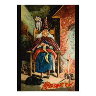 Witch at Fireplace Card