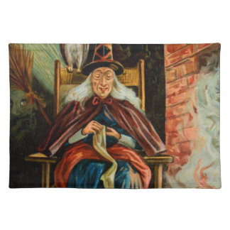 Witch at Fireplace Cloth Placemat