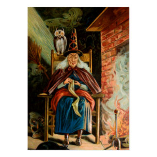 Witch at Fireplace Large Business Card