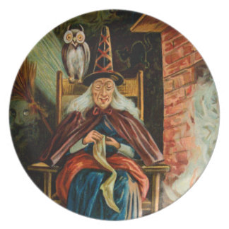 Witch at Fireplace Melamine Plate