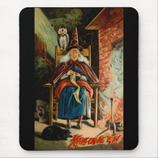 Witch at Fireplace Mouse Pad