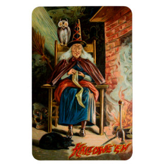 Witch at Fireplace Rectangular Magnets