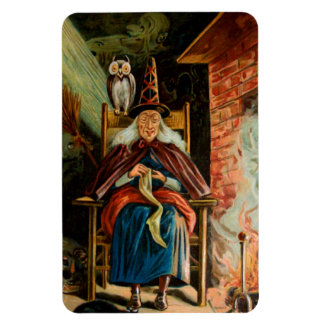 Witch at Fireplace Rectangle Magnets