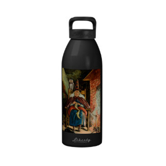 Witch at Fireplace Reusable Water Bottles