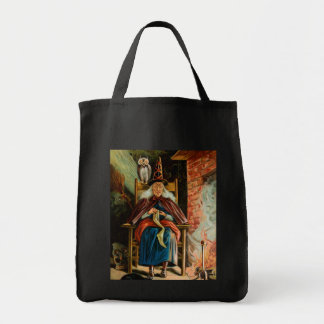Witch at Fireplace Tote Bag