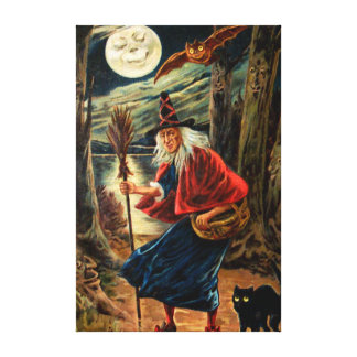 Witch at Halloween Night Canvas Print