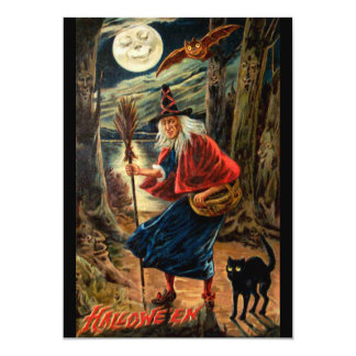 Witch at Halloween Night Card