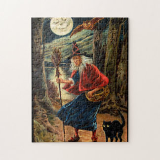 Witch at Halloween Night Jigsaw Puzzle