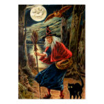 Witch at Halloween Night Large Business Card