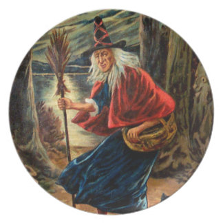 Witch at Halloween Night Melamine Plate