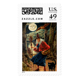 Witch at Halloween Night Postage Stamp