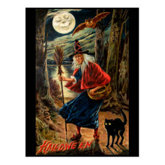 Witch at Halloween Night Post Cards